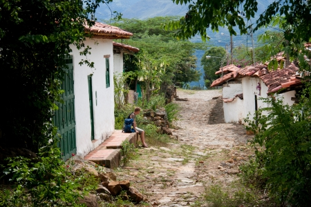 unesco world cultural heritage: Finishing the hike from Barichara and entering the colonial village of Guane, Santander, Colombia
