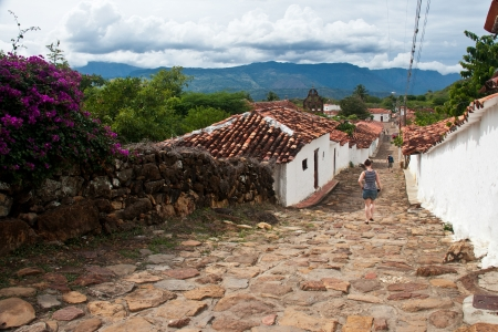 country house style: Cobblestone streets in the colonial village of Guane, Santander, Colombia Stock Photo