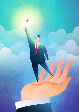 Helping hand. The hand lifts the businessman to reach out for the stars. Business concept vector illustration.  イラスト・ベクター素材
