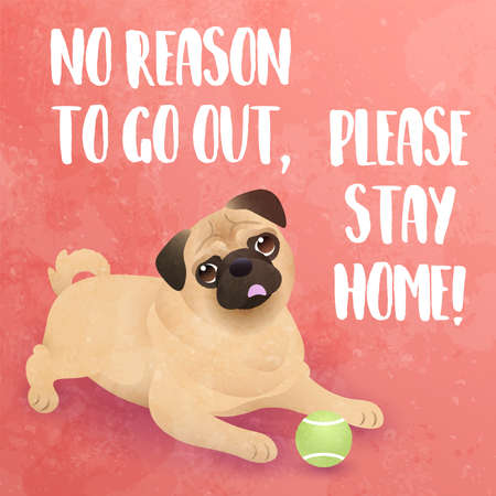 No reason to go out, please stay home! - funny inspirational slogan for Coronavirus quarantine and lockdown. Cute pug dog looking and begging for love. Vector illustration.