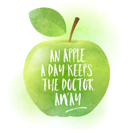 Green apple with calligraphy. Apple a day keeps the doctor away - funny inspirational slogan for healthy lifestyles. Textured painting. Vector illustration.