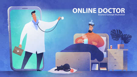 Online Doctor concept banner template. Telemedicine support. A video call of a patient to see a doctor via smartphone at nighttime. Healthcare, medicine and technology vector illustration.