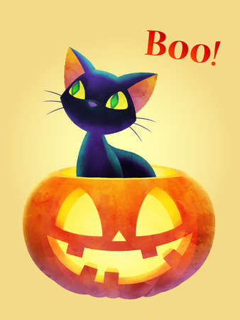 Cartoon black cat pops out off face pumpkin against yellow background. Boo! - funny saying for Halloween invitation design concept. Watercolor vector illustration. A4 size.