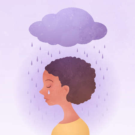 Anxiety, Obsessive compulsive, ADHD, and Mental disorders concept. Closeup sad young woman with a rainy cloud above the head. Conceptual vector illustration. Vektorgrafik