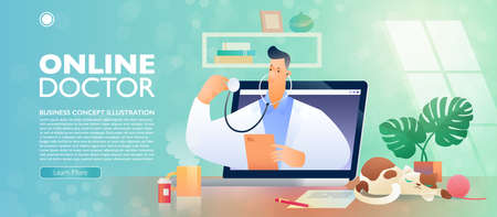 Online Doctor and Telehealth concept banner. Video call with doctor via online technology in your own home. Flat cartoon character of doctor pops out from a laptop computer. Vector illustration.