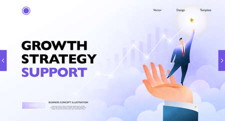 Business growth concept banner. Businessman standing on the hand rising to the goal. Business vector illustration. Illustration