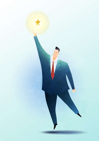 Business vector illustration of a businessman to reach out for the stars.