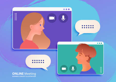 Online meeting via a video call app between young adult man and woman, Work from Home concept vector illustration. Vector Illustration