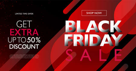 Black Friday sale concept layout. Abstract red gradient round shape design elements on black background. Vector illustration template