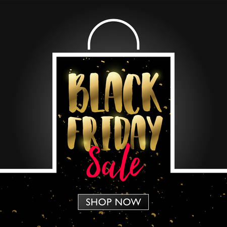 Black Friday sale with shopping bag frame banner concept, Vector illustration template