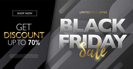 Black Friday sale with gold letters discount marketing banner concept. Abstract gradient round shape design element background. Vector illustration template