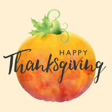 Happy Thanksgiving holiday illustration with hand drown lettering and pumpkin on light background. Autumnal vector design for fall season greeting card