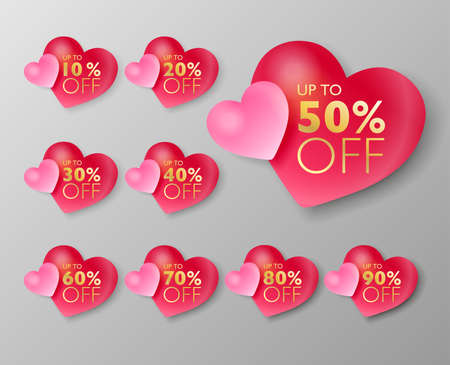 50% off sale tags. Set of 10% through 90% off 3d Pink heart balloon labels for sale promotional marketing. Vector illustration