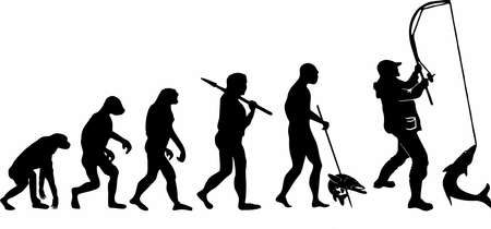 The evolution of fishing. Darwin's theory. Illustration