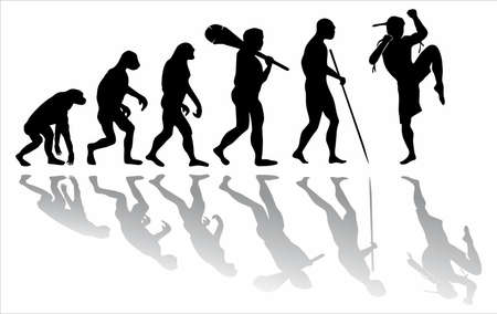 The evolution of muay thai. The evolution of the monkey from prehistoric times to the athlete. 矢量图像