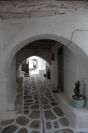 cul de sac: Dead-end-street on Paros  Greece  Stock Photo