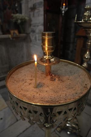 Inside an orthodox church on Paros island (Greece) photo
