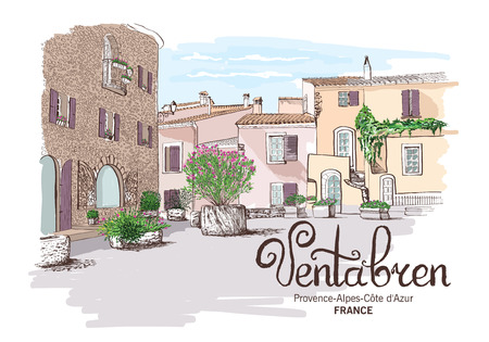 housetop: Provence landscape freehand vector drawing