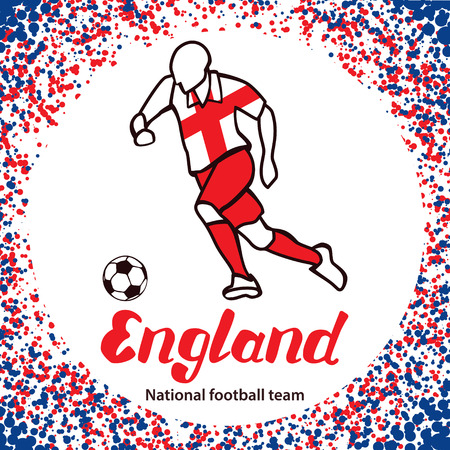 tournament chart: England. National football team of England. Vector illustration with the football player and the ball. Vector handwritten lettering.