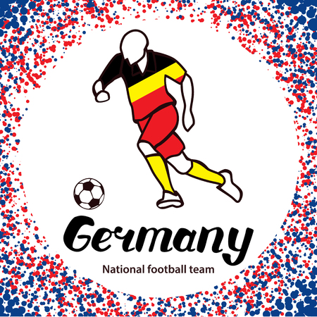 tournament chart: Germany. National football team of Germany. Vector illustration with the football player and the ball. Vector handwritten lettering. Illustration