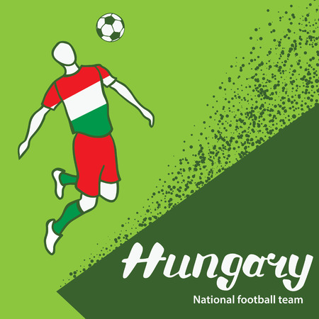 tournament chart: Hungary. National football team of Hungary. Vector illustration with the football player and the ball. Vector handwritten lettering.