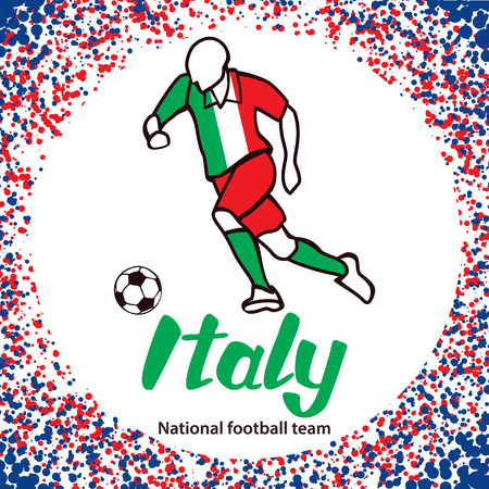 tournament chart: Italy. National football team of Italy. Vector illustration with the football player and the ball. Vector handwritten lettering.