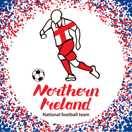 tournament chart: Northern Ireland. National football team of Northern Ireland. Vector illustration with the football player and the ball. Vector handwritten lettering. Illustration