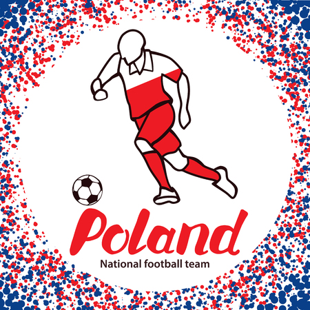 football team: Poland. National football team of Poland. Vector illustration with the football player and the ball. Vector handwritten lettering.