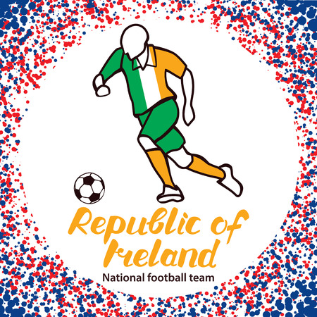 republic of ireland: Republic of Ireland. National football team of Republic of Ireland. Vector illustration with the football player and the ball. Vector handwritten lettering. Illustration