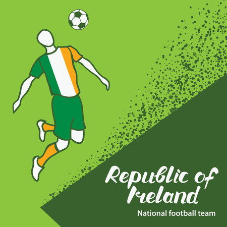 tournament chart: Republic of Ireland. National football team of Republic of Ireland. Vector illustration with the football player and the ball. Vector handwritten lettering. Illustration