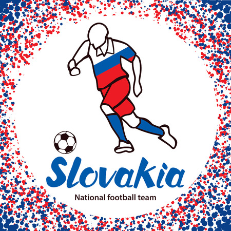 tournament chart: Slovakia. National football team of Slovakia. Vector illustration with the football player and the ball. Vector handwritten lettering.