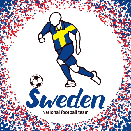 tournament chart: Sweden. National football team of Sweden. Vector illustration with the football player and the ball. Vector handwritten lettering.