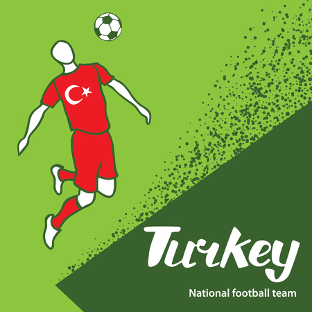 tournament chart: Turkey. National football team of Turkey. Vector illustration with the football player and the ball. Vector handwritten lettering.