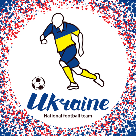 tournament chart: Ukraine. National football team of Ukraine. Vector illustration with the football player and the ball. Vector handwritten lettering.