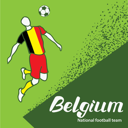 tournament chart: Belgium. National team of Belgium. Vector illustration with the football player and the ball. Vector handwritten lettering.