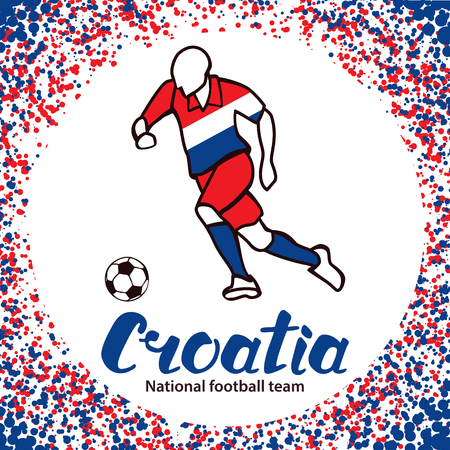 tournament chart: Croatia. National team of Croatia. Vector illustration with the football player and the ball. Vector handwritten lettering. Illustration