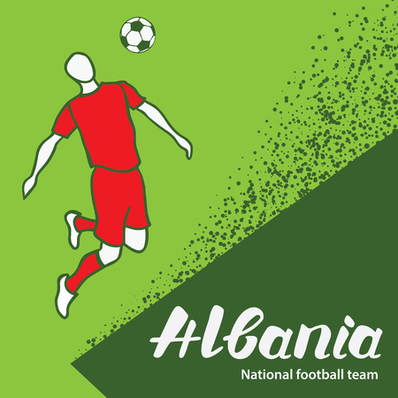 tournament chart: Albania. National team of Albania. Vector illustration with the football player and the ball. Vector handwritten lettering. Illustration