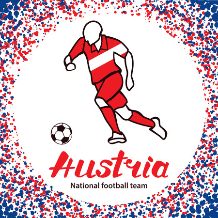 qualified: Austria. National team of Austria. Vector illustration with the football player and the ball. Vector handwritten lettering.