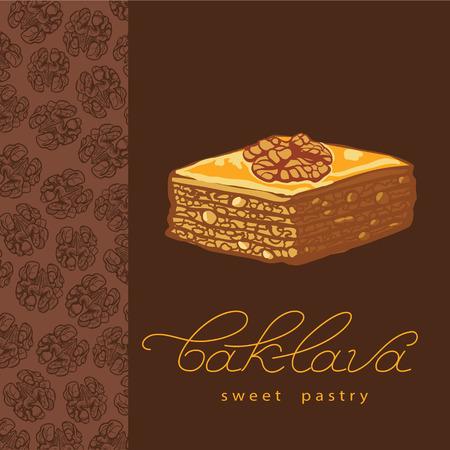 turkish dessert: Baklava is the sweet pastry in Turkey, vector illustration of baklava with a pattern of nuts. Food illustration for design, menu, cafe billboard. Handwritten lettering.