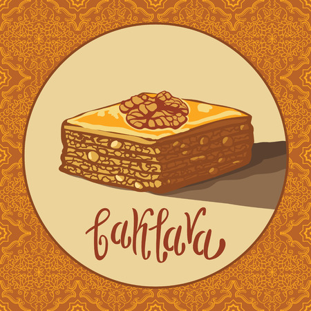 turkish dessert: Baklava is the sweet pastry in Turkey, vector illustration of baklava with a traditional pattern. Food illustration for design, menu, cafe billboard. Handwritten lettering. Illustration