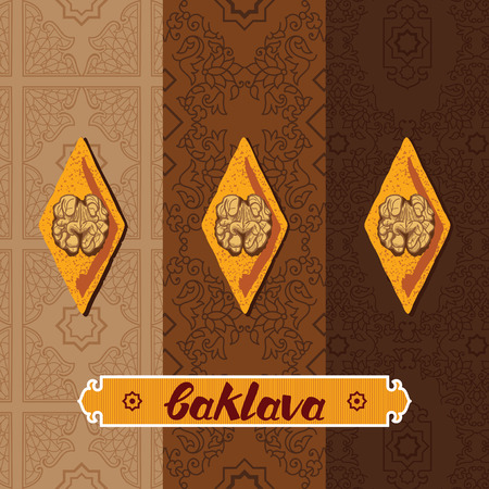 turkish dessert: Baklava is the sweet pastry from Asia, vector illustration of baklava with a traditional pattern. Food illustration for design, menu, cafe billboard. Handwritten lettering.