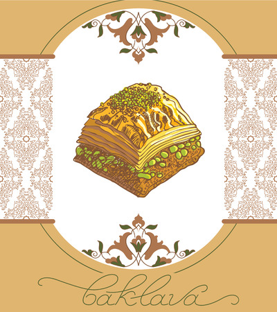 Baklava is the most popular sweet dessert in Turkey, vector illustration of baklava with the pistachios. Food illustration for design, menu, cafe billboard. Handwritten lettering.