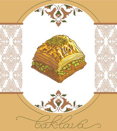 Baklava is the most popular sweet dessert in Turkey, vector illustration of baklava with the pistachios. Food illustration for design, menu, cafe billboard. Handwritten lettering.