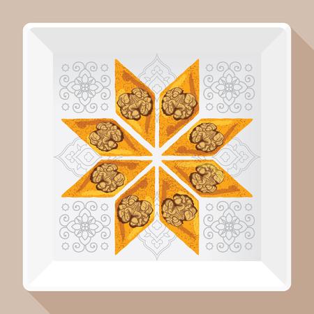 turkish dessert: Baklava is the most popular dessert in Turkey, vector illustration of baklava on a square white plate with a traditional pattern. Food illustration for design, menu, cafe billboard. Illustration