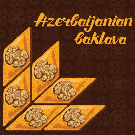 most popular: Baklava is the most popular dessert in Azerbaijan, vector illustration of baklava with a traditional pattern. Food illustration for design, menu, cafe billboard. Handwritten lettering. Illustration