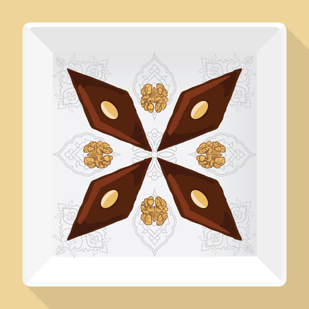 Baklava is the most popular dessert in Turkey, vector illustration of baklava on a square white plate with a traditional pattern. Food illustration for design, menu, cafe billboard. Illustration