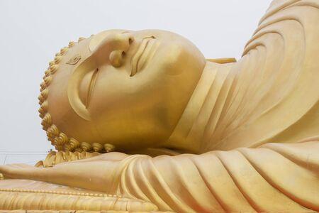 reclining: Reclining Buddha closeup. Stock Photo