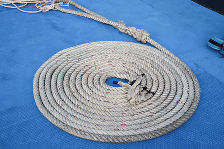 coiled rope: Coiled rope for prepare on the boat.
