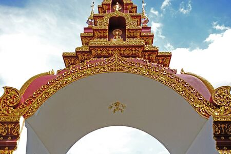 a traditional northern thai style (lanna) gate (an entrance) to a temple