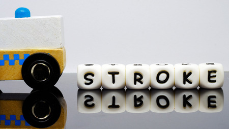 alphabet letters spelling a word STROKE, a condition demands urgent medical evaluation and treatment